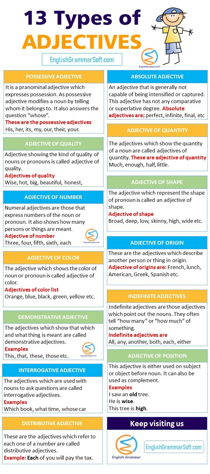 13 types of adjectives