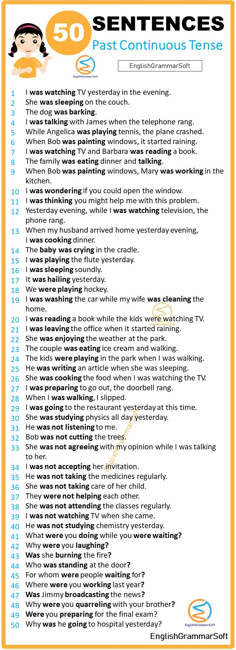 50 past continuous tense sentences examples