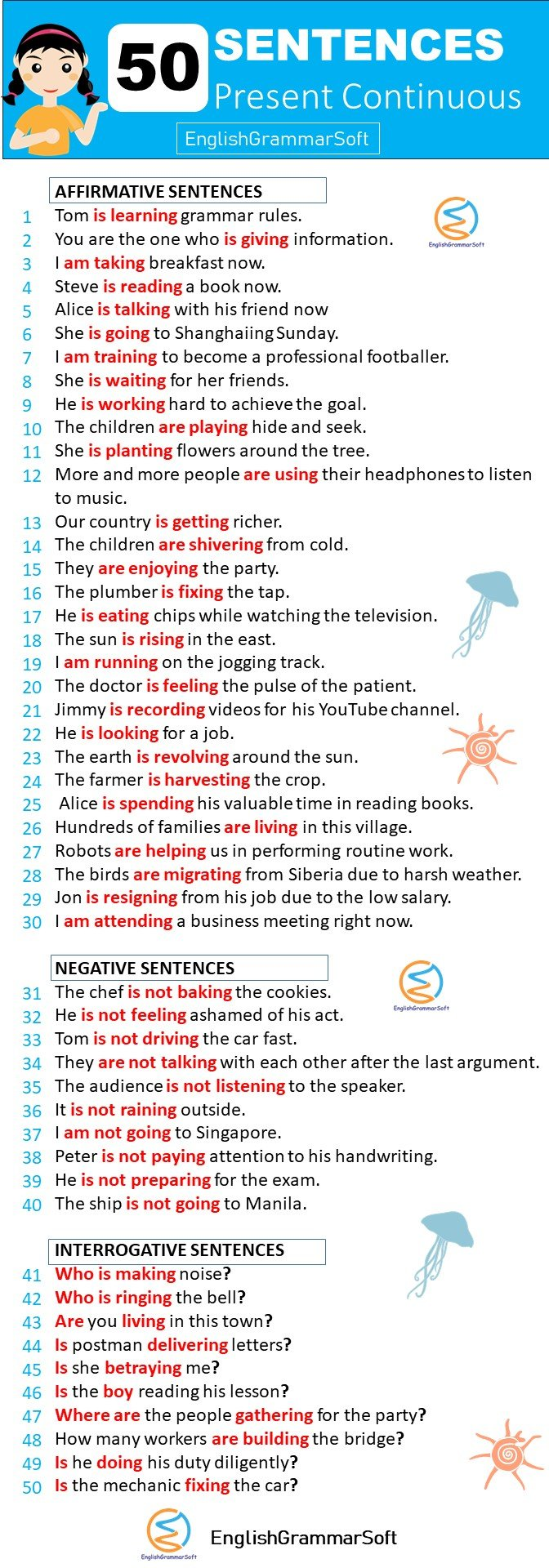 50 Sentences of present continuous tense