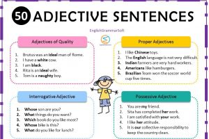 sentences of adjective