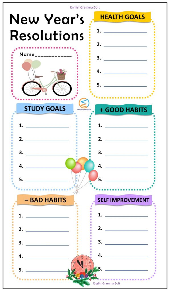 ew year goal setting resolution worksheet for students