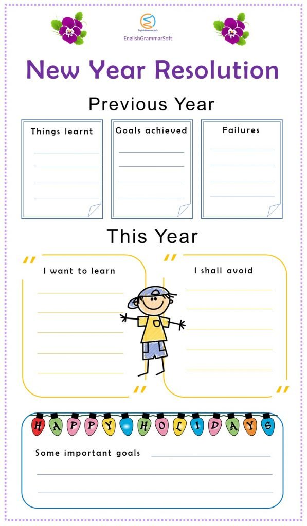 new year resolution worksheets