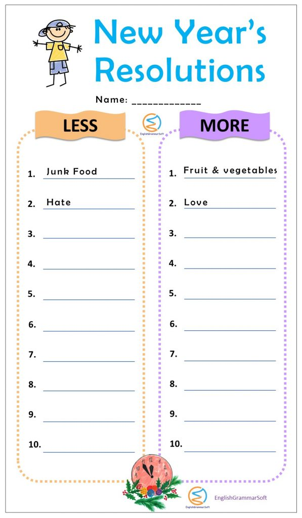 new year resolution worksheet for adults