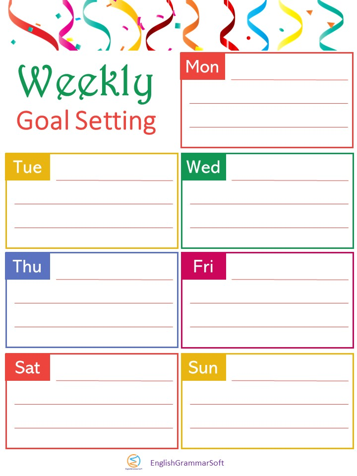 New Year Goal Setting Templates (weekly goals)