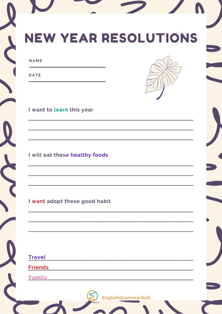 New Year Resolution printable