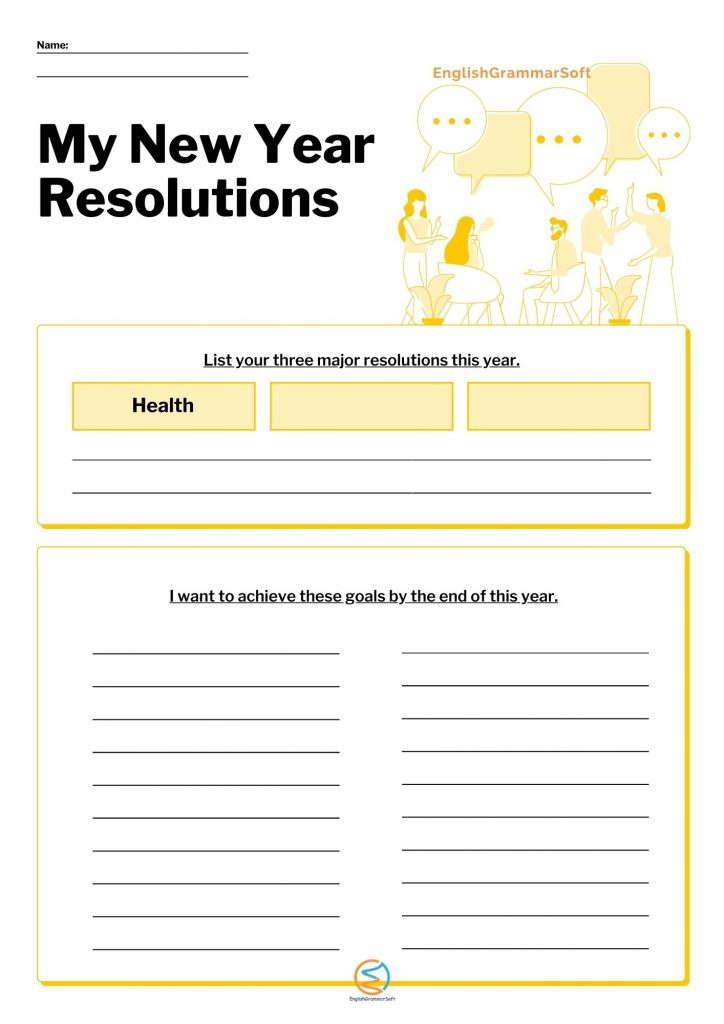 New Year Resolution printable template