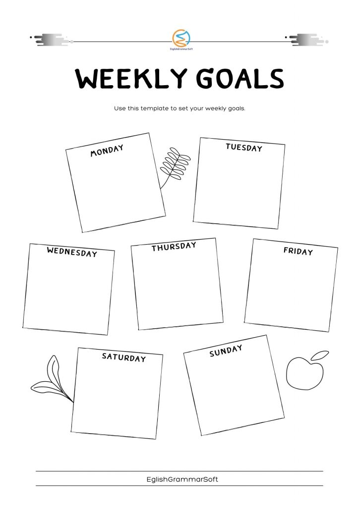 New Year Resolution weekly goal setting
