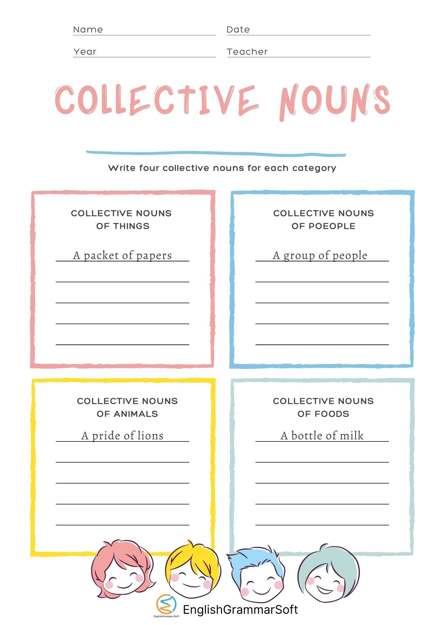 Free Printable Collective Nouns Worksheet