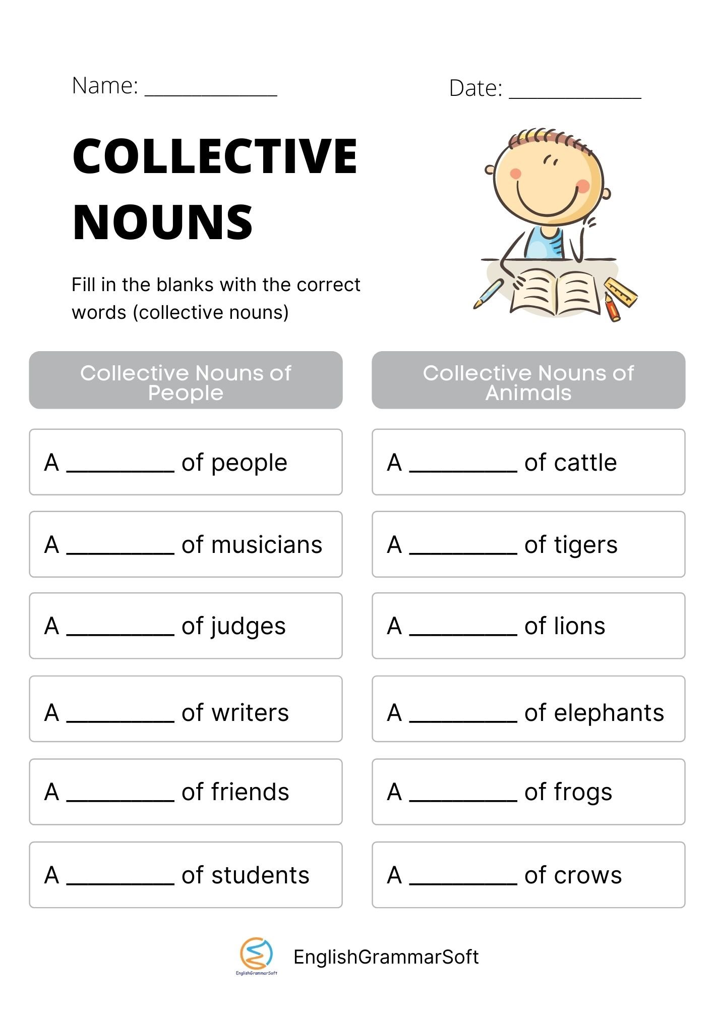 fill in the blanks with collective nouns with answers