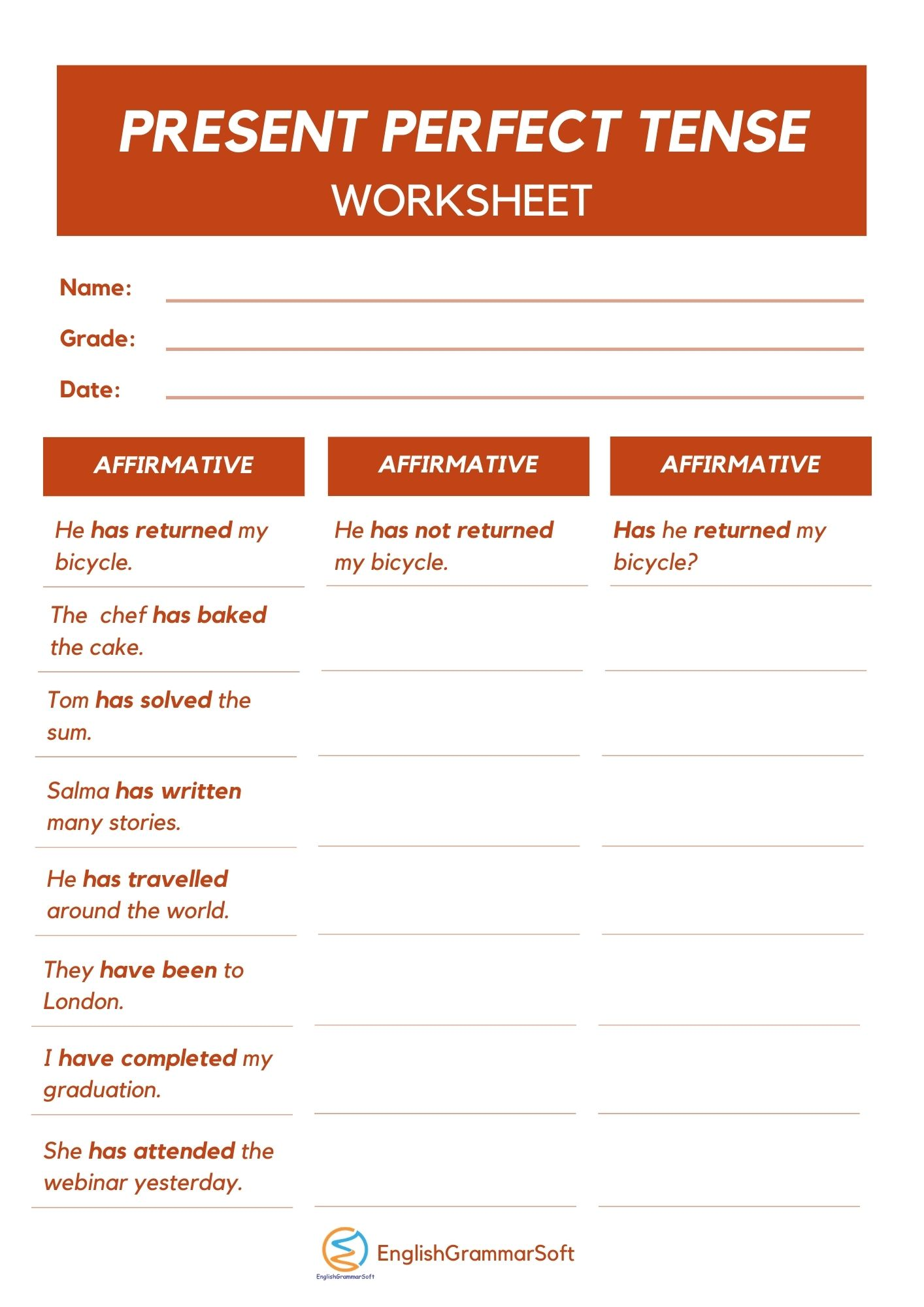 Present Perfect Tense Worksheets with Answers