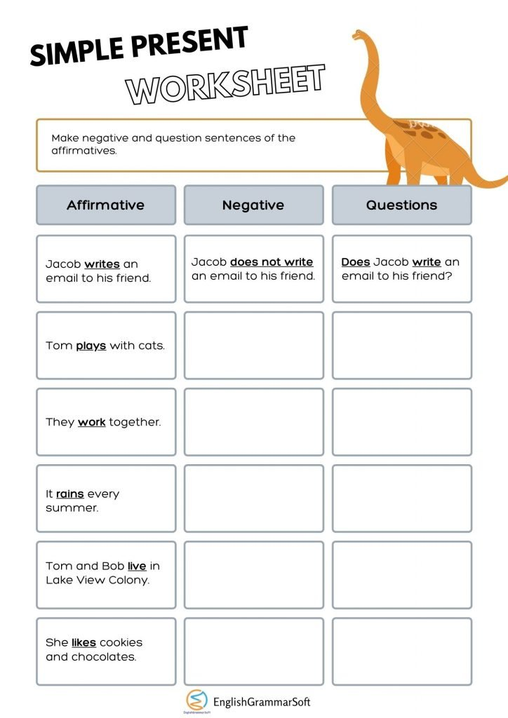 simple present tense worksheets with answers