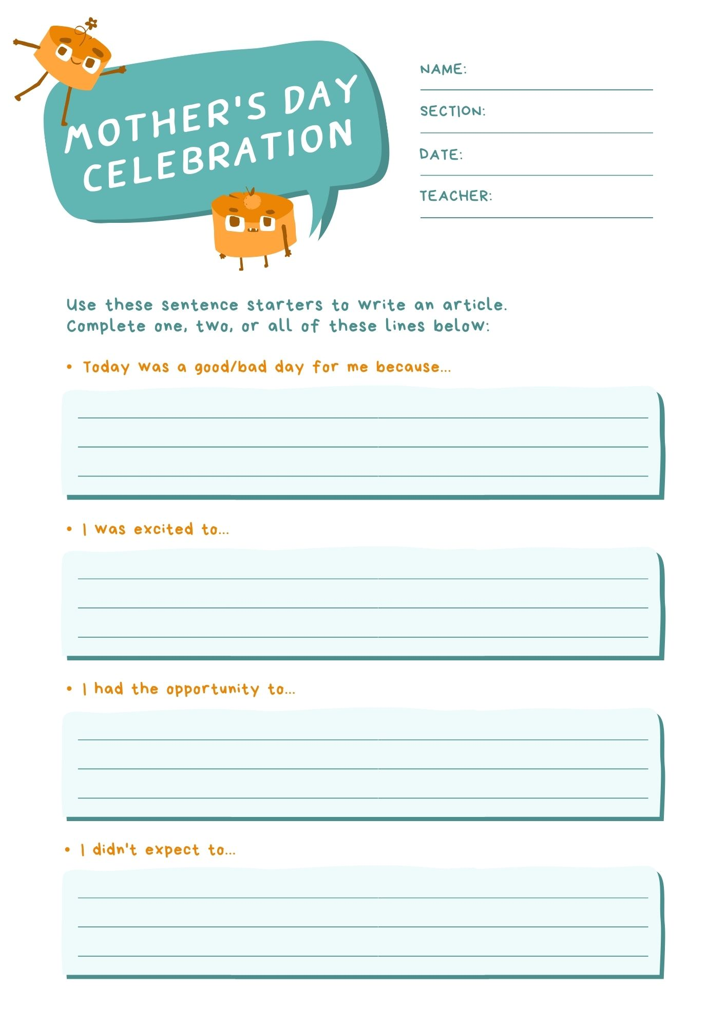Free Printable Mother's Day Worksheet