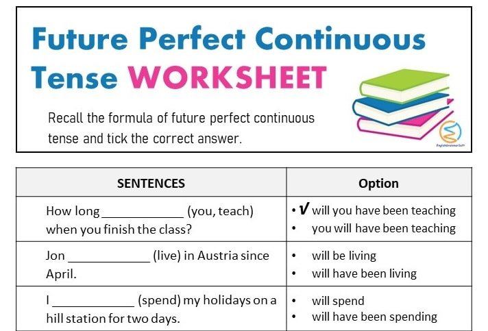 Future Perfect Continuous Tense Worksheets with Answers