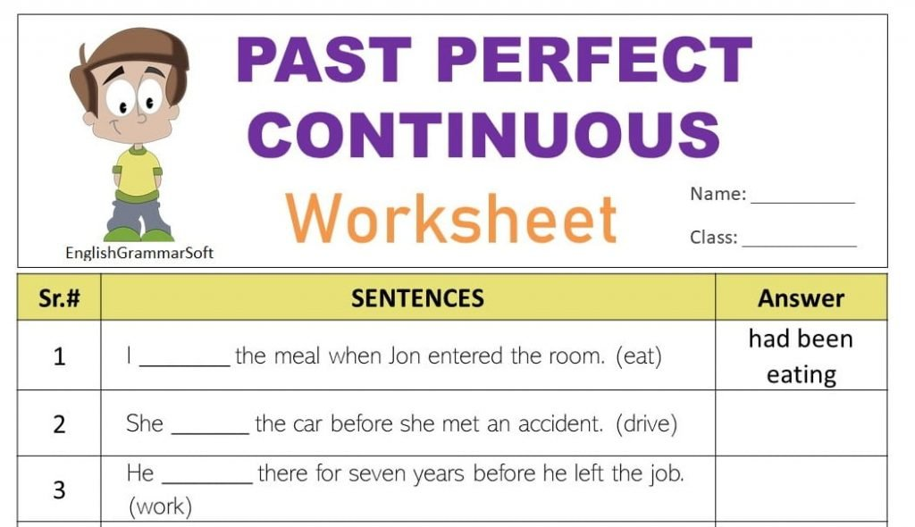 Past Perfect Continuous Tense Worksheet with Answers