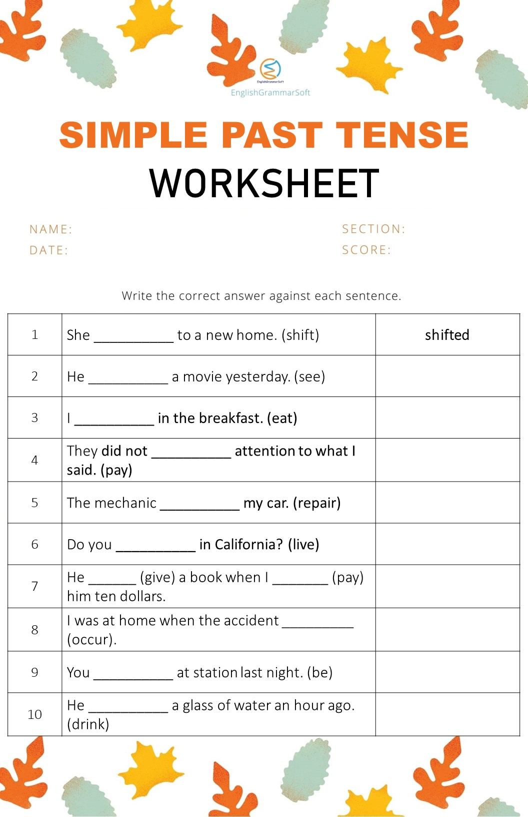 Simple Past Tense Worksheet with Answers