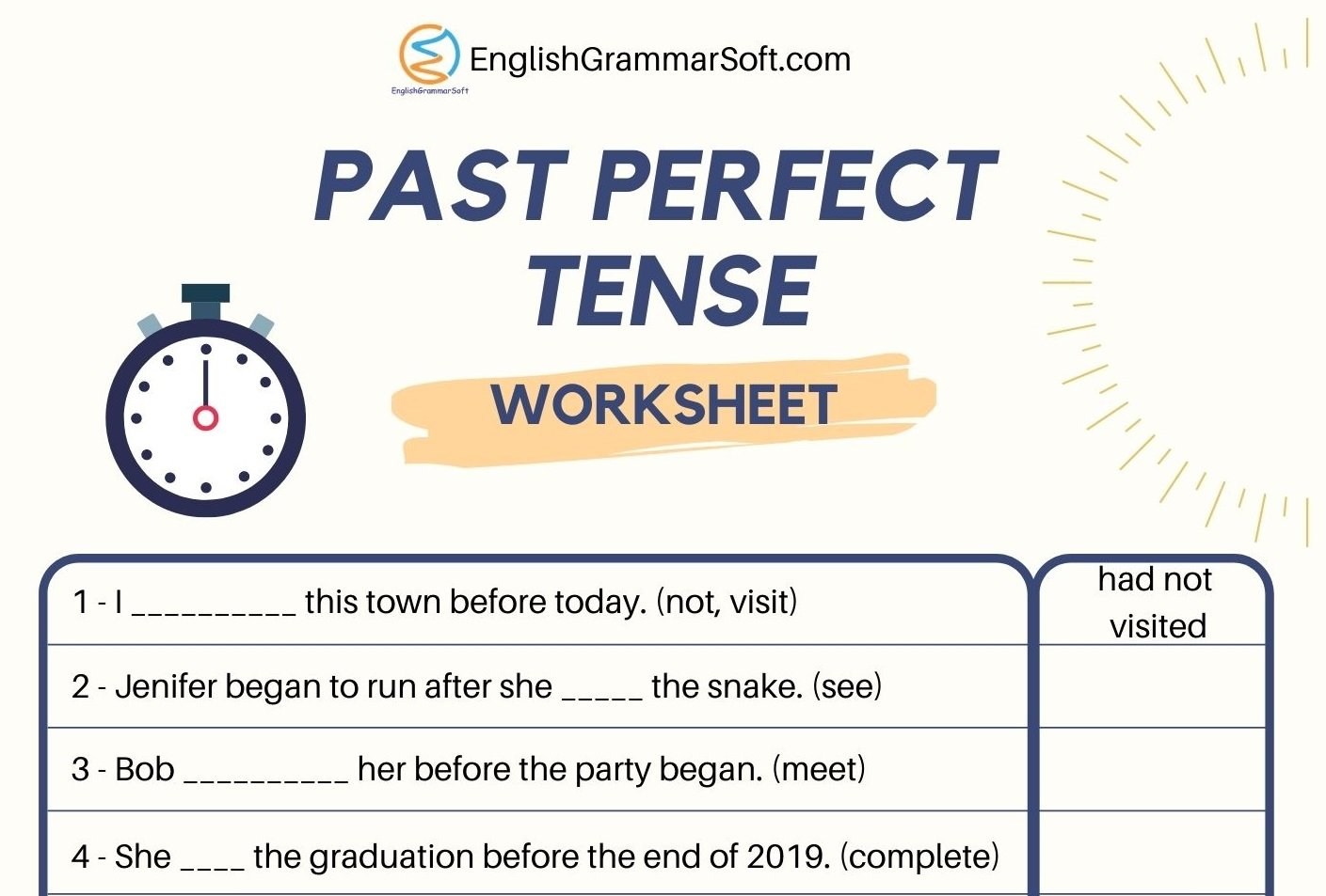 Worksheet for Past Perfect Tense