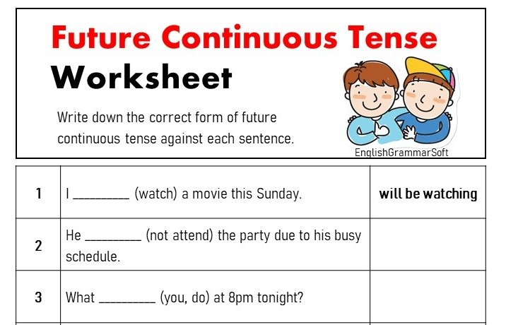 Worksheet on Future Continuous Tense with Answers