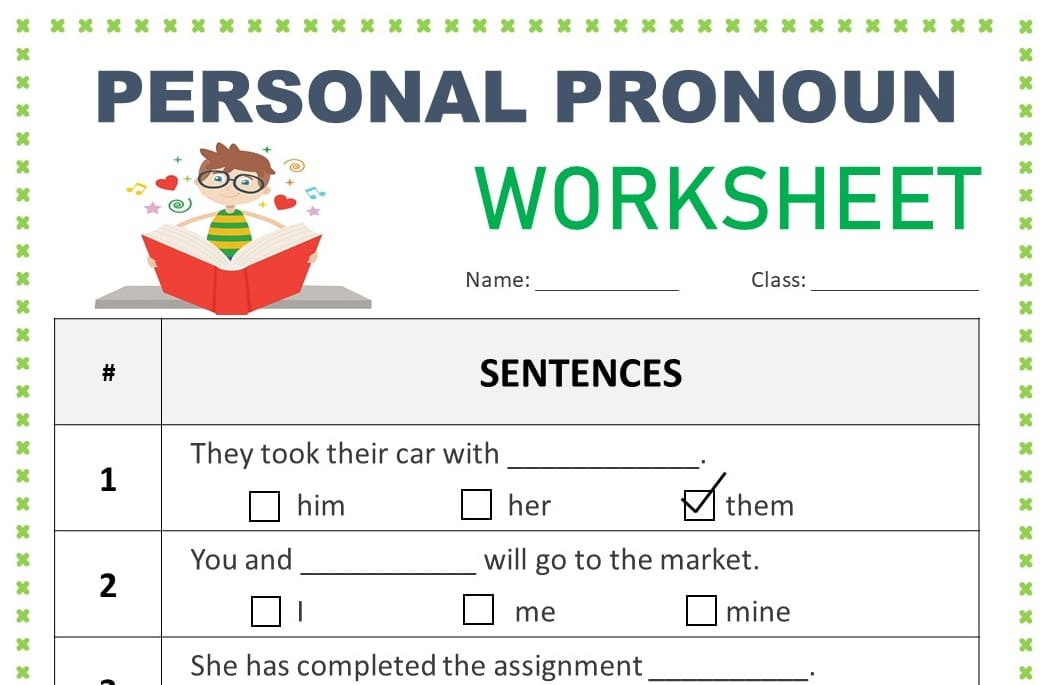 Personal Pronoun Worksheet and Exercise