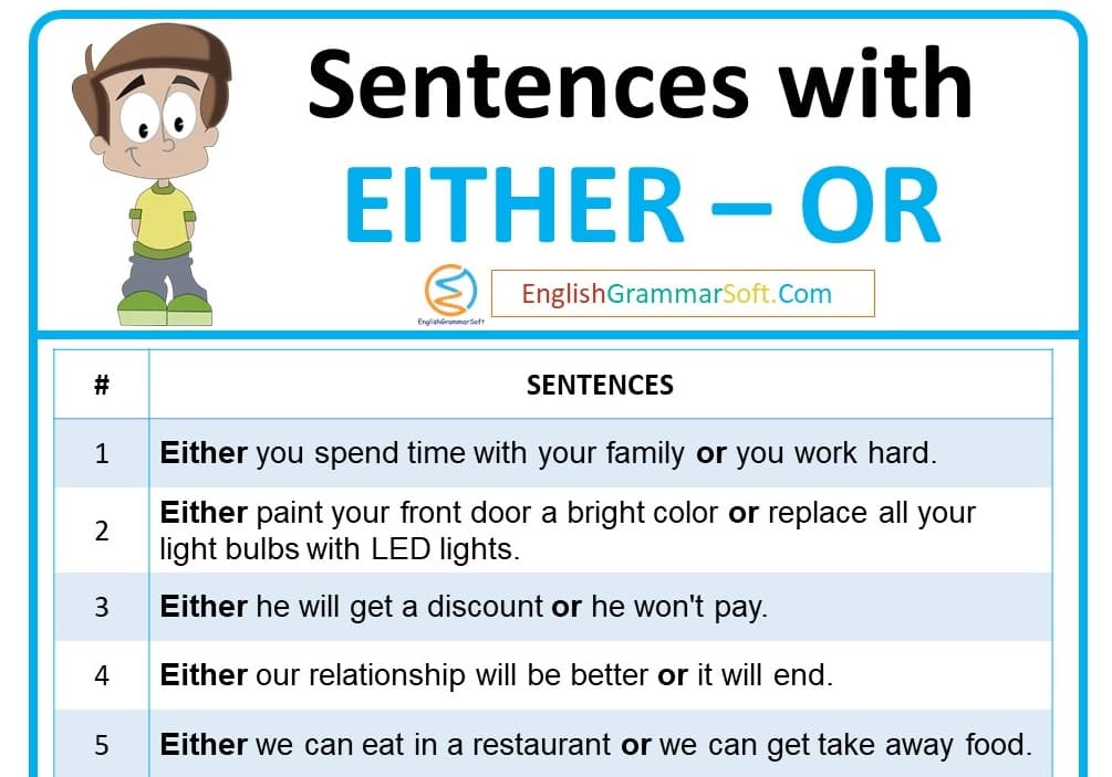 Sentences with Either - or (50 examples)