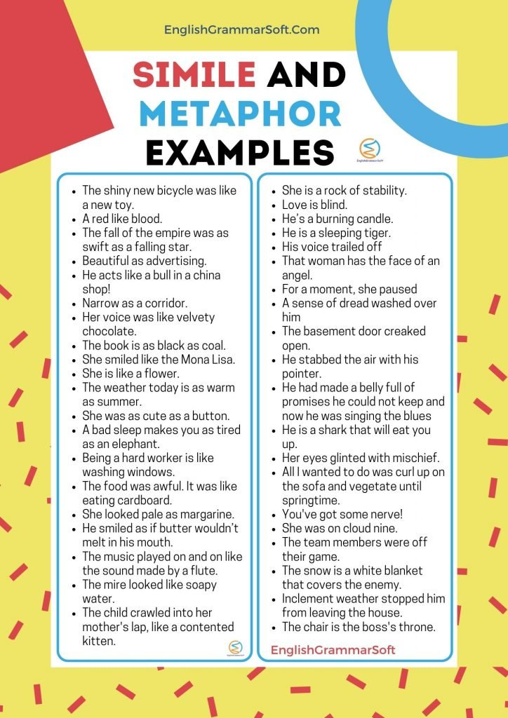 simile and metaphor examples