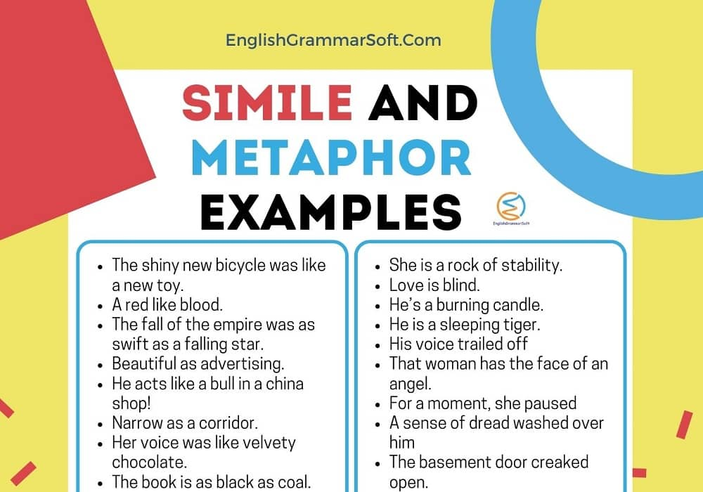 simile and metaphor examples sentences
