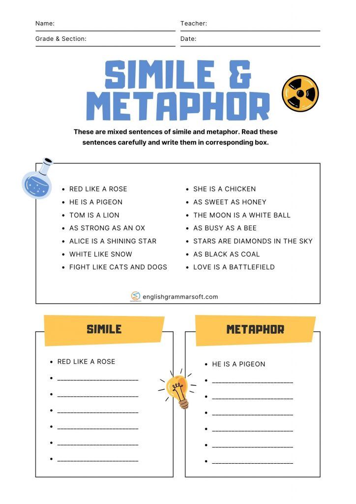 worksheets on simile and metaphor