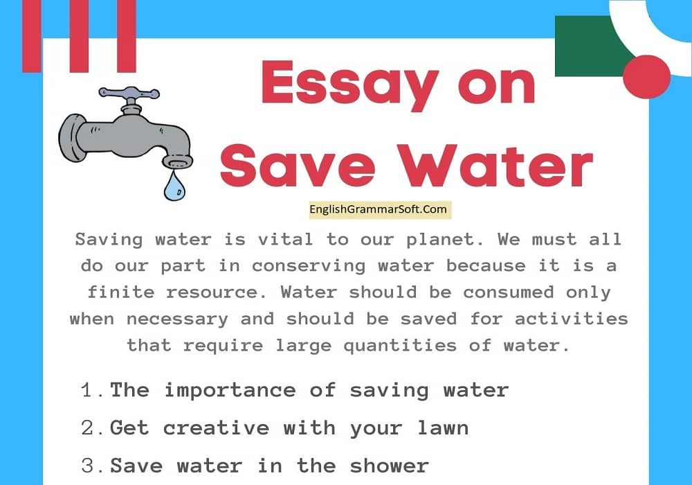 Essay on Save Water